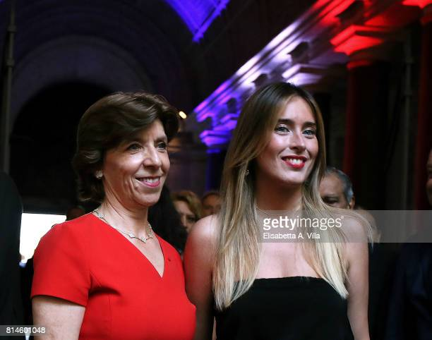 Catherine Colonna and Maria Elena Boschi attend French National Day celebrations on July 14 2017 in Rome Italy