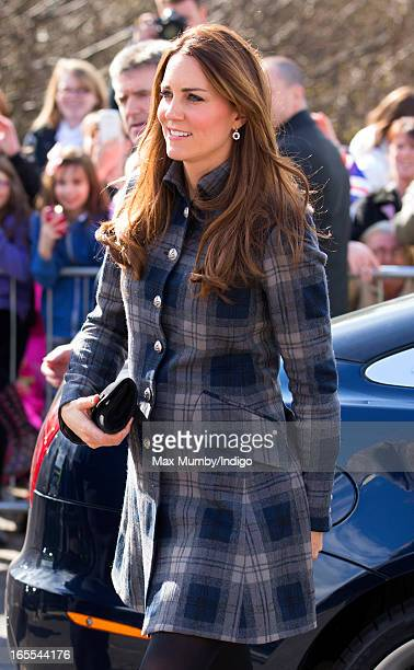 Catherine Countess of Strathearn accompanied by Prince William Earl of Strathearn arrives at the Donald Dewar Leisure Centre to launch a new project...