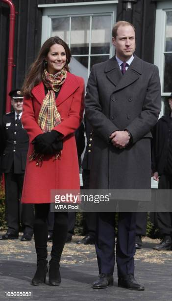 Catherine Countess of Strathearn and Prince William Earl of Strathearn during a visit to Dumfries House on March 05 2013 in Ayrshire Scotland The...