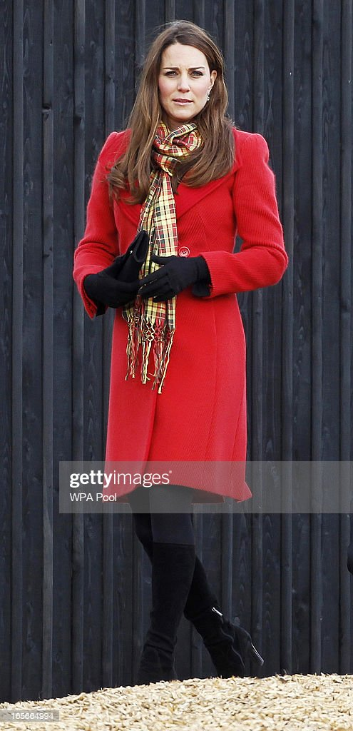 Catherine, Countess of Strathearn during a visit to Dumfries House on March 05, 2013 in Ayrshire, Scotland. The Duke and Duchess of Cambridge braved the bitter cold to attend the opening of an outdoor centre in Scotland today. The couple joined the Prince of Wales at Dumfries House in Ayrshire where Charles has led a regeneration project since 2007. Hundreds of locals and 600 members of youth groups including the Girl Guides and Scouts turned out for the official opening of the Tamar Manoukin Outdoor Centre.