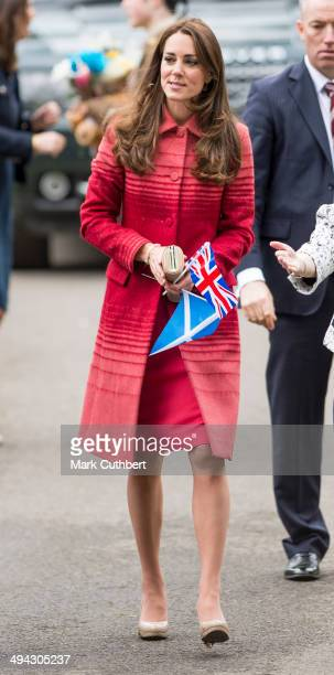 Catherine Countess of Strathearn is seen as she visits the newly restored MacRosty Park Crieff Perthshire on May 29 2014 in Perth United Kingdom