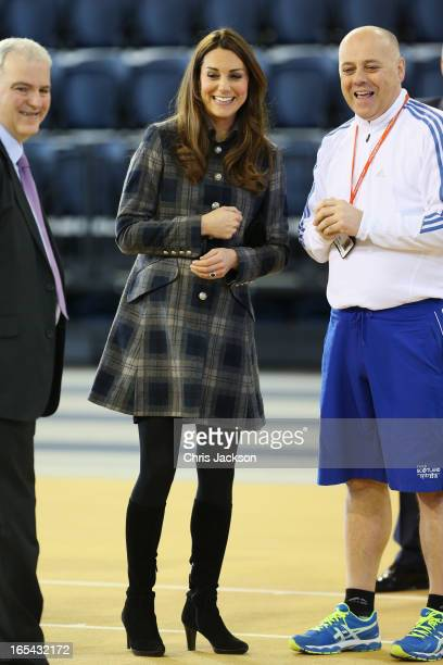 Catherine Countess of Strathearn watches a sports demonstration as she visits the Emirates Arena on April 4 2013 in Glasgow Scotland The Emirates...