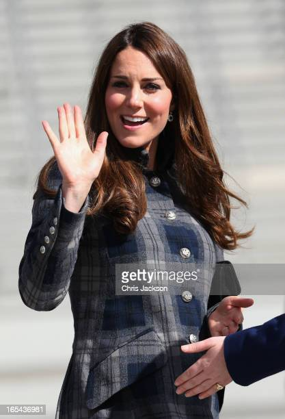 Catherine Countess of Strathearn waves as she visits the Emirates Arena on April 4 2013 in Glasgow Scotland The Emirates Arena will play host to...