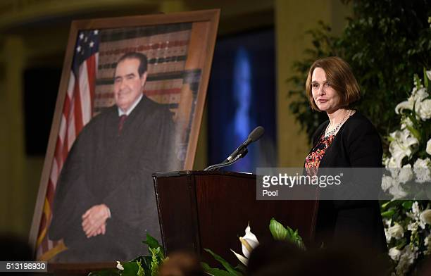 Catherine Courtney daughter of Supreme Court Justice Antonin Scalia speaks at the memorial service for her father at the Mayflower Hotel March 1 2016...