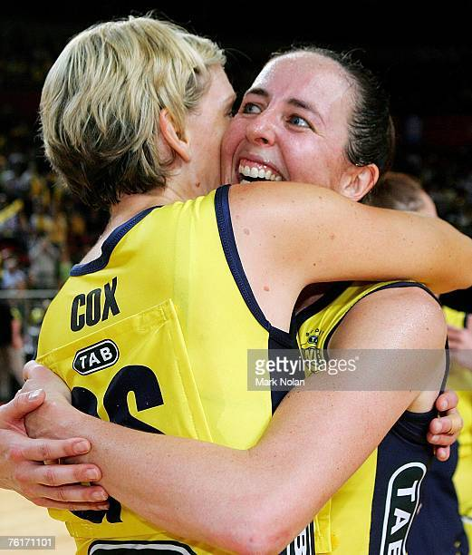 Catherine Cox and Liz Ellis of the Swifts embrace after winning the Commonwealth Bank Trophy Final match between the Melbourne Phoenix and the Sydney...