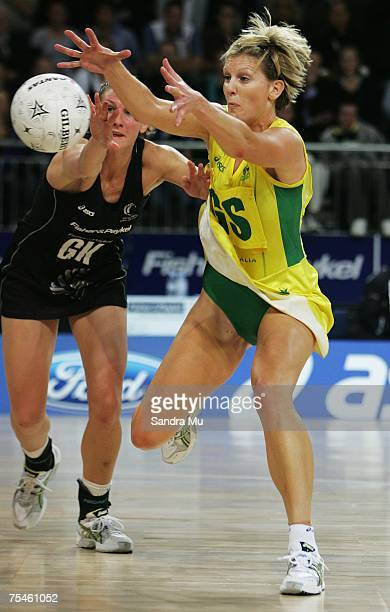 Catherine Cox of Australia and Casey Williams of the Silver Ferns contest for the ball during the first netball test series match between New Zealand...