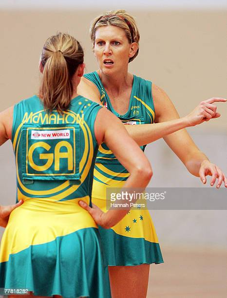 Catherine Cox of Australia gives Sharelle McMahon instructions during a warm up match against Malawi held at the AUT Campus November 9 2007 in...