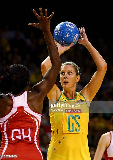 Catherine Cox of Australia shoots for goal during game one of the International Test match series between the Australian Diamonds and England at...