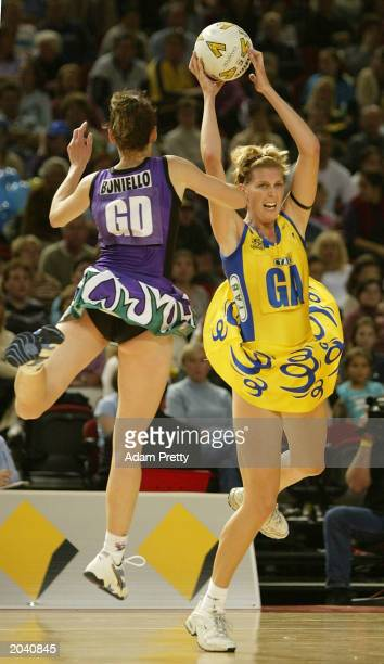 Catherine Cox of the Swifts in action during the Commonwealth Bank Trophy between the Sydney Swifts and the Melbourne Phoenix May 30 2003 at the...