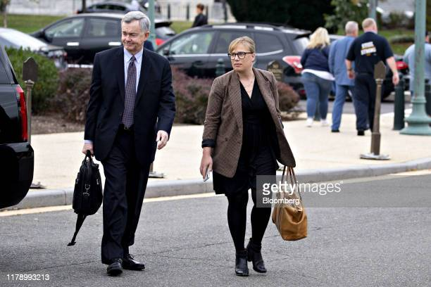 Catherine Croft State Department adviser on Ukraine right arrives for closeddoor testimony before House committees on Capitol Hill in Washington DC...