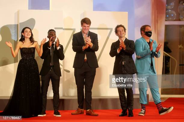 """Catherine Davis, Olly Sholotan, Britton Sear, Eli Brown and Joel Michaely walk the red carpet ahead of the movie """"Run Hide Fight"""" at the 77th Venice..."""
