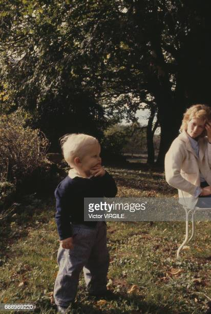 Catherine de Castelbajac and her son at home in October, 1980 in France.