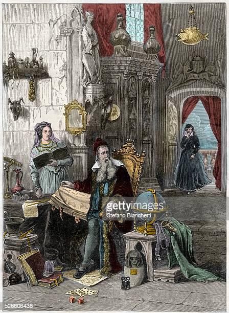 Catherine de Medici, 1519-1589, and her astrologer Nostradamus, 1503-1566 - engraving -