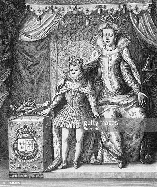 Catherine de Medici and her son Charles IX .