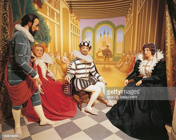 Catherine de Medici offers ballet and entertainment to Henry III in the gallery of the chateau; Brantome, in front of the king, describing the...