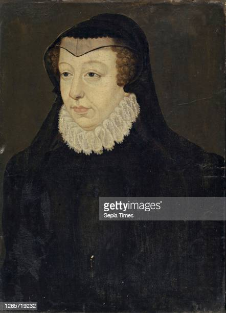 Catherine de Medici, Queen of France, as a widow, oil on paper, mounted on wood, 37.5 x 26.5 cm, unsigned, François Clouet, , Tours um 1516–1572...
