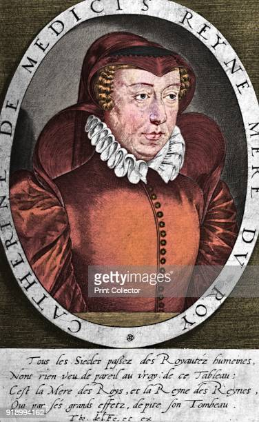 Catherine de' Medici , Queen of Henry II of France and regent on behalf of their sons Francis II, Charles IX and Henry III, c16th century . From A...