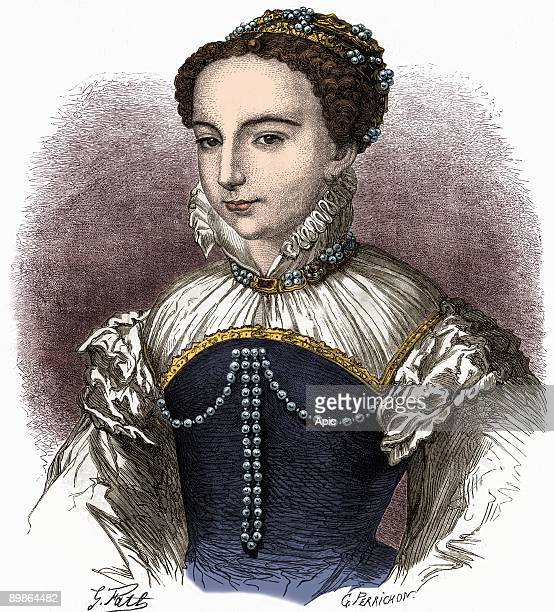 Catherine de Medici wife of HenryII and queen of France in 1533-1559 and regent of France in 1560-1574, engraving colorized document