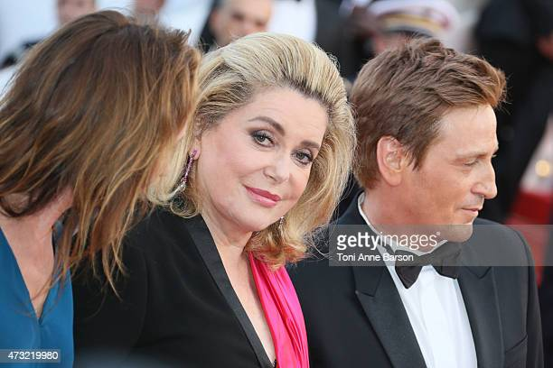 Catherine Deneuve and Benoit Magimel attend the opening ceremony and La Tete Haute premiere during the 68th annual Cannes Film Festival on May 13...