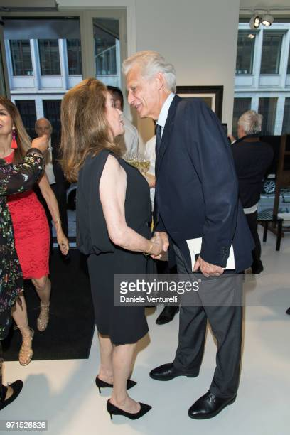 Catherine Deneuve and Dominique de Villepin attend Wilfredo Lam 'Nouveau Nouveau Monde' Exhibition Opening Hosted by the Lam Family at Galerie...