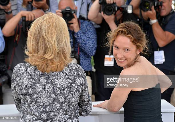 Catherine Deneuve and Emmanuelle Bercot attend the La Tete Haute photocall during the 68th annual Cannes Film Festival on May 13 2015 in Cannes France