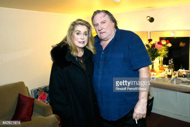 Catherine Deneuve and Gerard Depardieu pose Backstage after Gerard Depardieu sings Barbara accompanied on the piano of Barbara by Gerard Daguerre who...