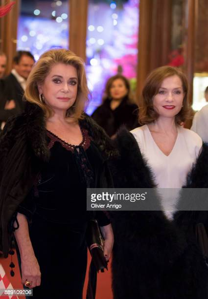 Catherine Deneuve and Isabelle Huppert attends 'Surrealist Dinner Charles Kaisin' at Casino de MonteCarlo on December 9 2017 in Monaco Monaco