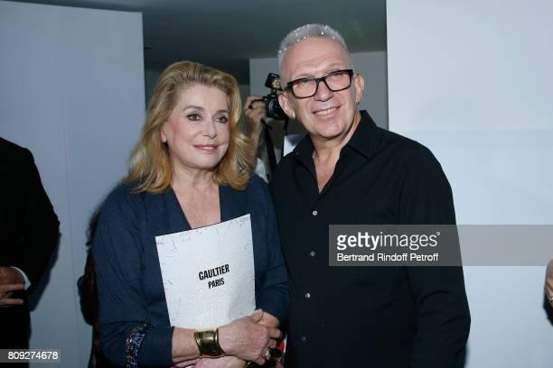 Catherine Deneuve and JeanPaul Gaultier attend the Jean Paul Gaultier Haute Couture Fall/Winter 20172018 show as part of Haute Couture Paris Fashion...