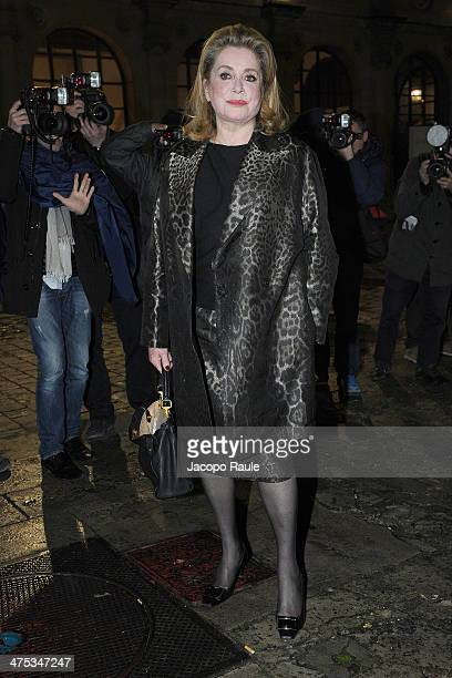 Catherine Deneuve arrives at Lanvin show as part of the Paris Fashion Week Womenswear Fall/Winter 20142015 on February 27 2014 in Paris France