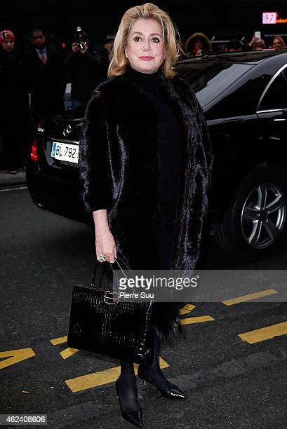 Catherine Deneuve attends the Jean Paul Gaultier show as part of Paris Fashion Week Haute Couture Spring/Summer 2015 on January 28, 2015 in Paris,...
