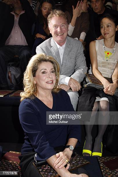 Catherine Deneuve attends the Louis Vuitton fashion show, during the Spring/Summer 2008 ready-to-wear collection show at Cour carree du Louvre on...