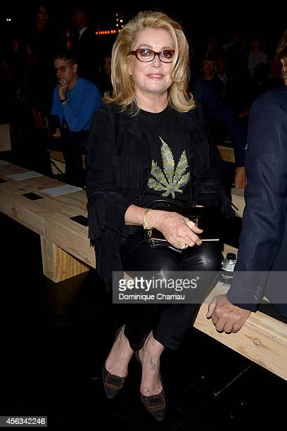 Catherine Deneuve attends the Saint Laurent show as part of the Paris Fashion Week Womenswear Spring/Summer 2015 on September 29 2014 in Paris France