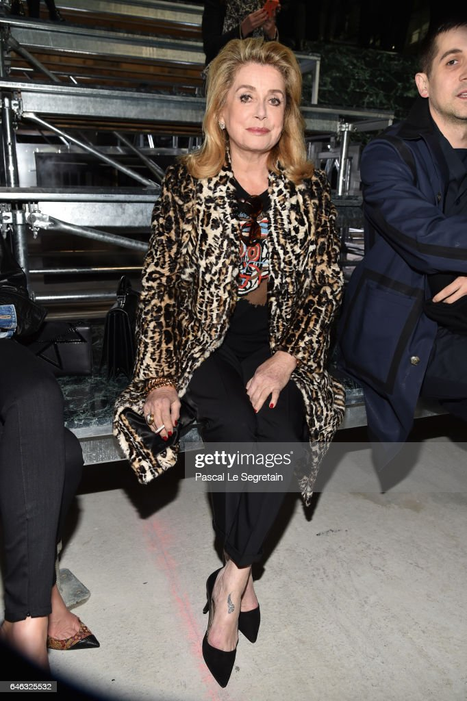 Catherine Deneuve attends the Saint Laurent show as part of the Paris Fashion Week Womenswear Fall/Winter 2017/2018 on February 28, 2017 in Paris, France.