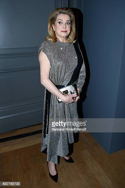 Catherine Deneuve attends the Sidaction Gala Dinner 2017 Haute Couture Spring Summer 2017 show as part of Paris Fashion Week on January 26 2017 in...
