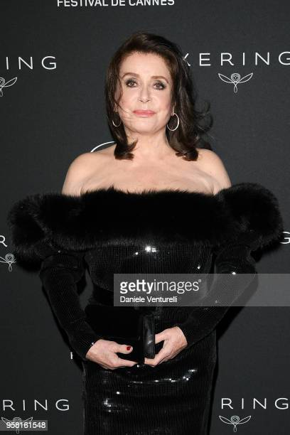 Catherine Deneuve attends the Women in Motion Awards Dinner presented by Kering and the 71th Cannes Film Festival at Place de la Castre on May 13...