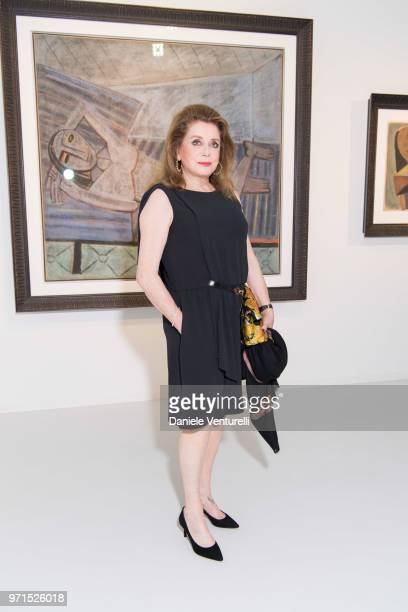 Catherine Deneuve attends Wilfredo Lam 'Nouveau Nouveau Monde' Exhibition Opening Hosted by the Lam Family at Galerie Gmurzynska on June 9 2018 in...