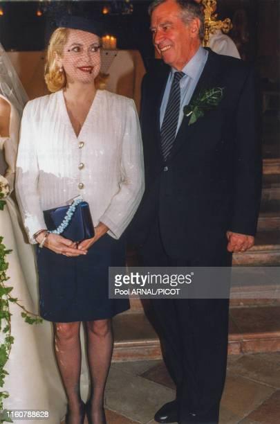 Catherine Deneuve et Roger Vadim lors du mariage de leur fils Christian à Autun le 21 septembre 1996, France.