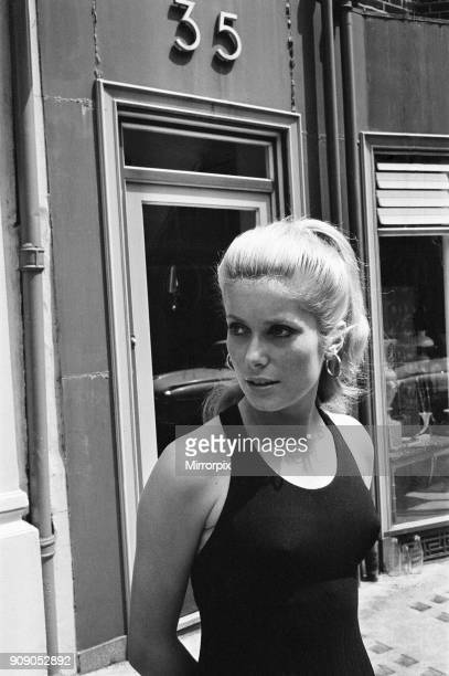 Catherine Deneuve French actress and star of British psychological horror Repulsion which has it's premiere at the Rialto Cinema this evening poses...