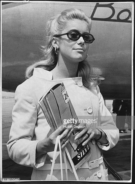 Catherine Deneuve French film star at London Airport in 1965