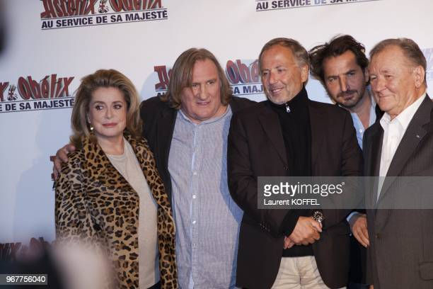 Catherine Deneuve Gerard Depardieu Fabrice Luchini Edouard Baer and Albert Uderzo attend at 'Asterix et Obelix au service de sa majeste' film...