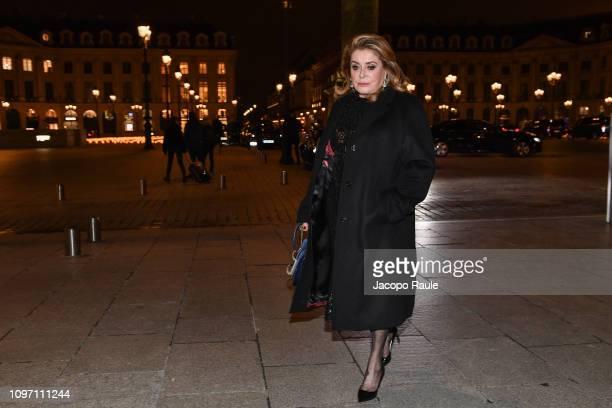 Catherine Deneuve is seen arriving at Boucheron dinner on January 20 2019 in Paris France