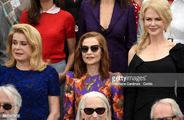 Catherine Deneuve Isabelle Huppert and Nicole Kidman attend the 70th Anniversary photocall during the 70th annual Cannes Film Festival at Palais des...