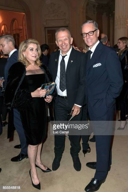 Catherine Deneuve JeanPaul Gaultier and Madison Cox attend the Opening Party at Yves Saint Laurent Museum as part of the Paris Fashion Week...