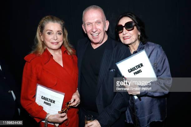 Catherine Deneuve, Jean-Paul Gaultier and Nana Mouskouri pose after the Jean Paul Gaultier Haute Couture Fall/Winter 2019 2020 show as part of Paris...