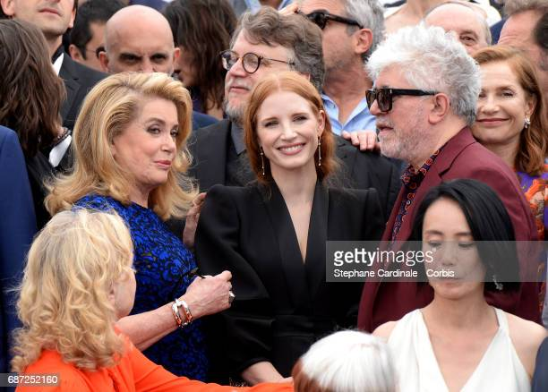 Catherine Deneuve Jessica Chastain Pedro Almodovar and Isabelle Huppert attend the 70th Anniversary photocall during the 70th annual Cannes Film...