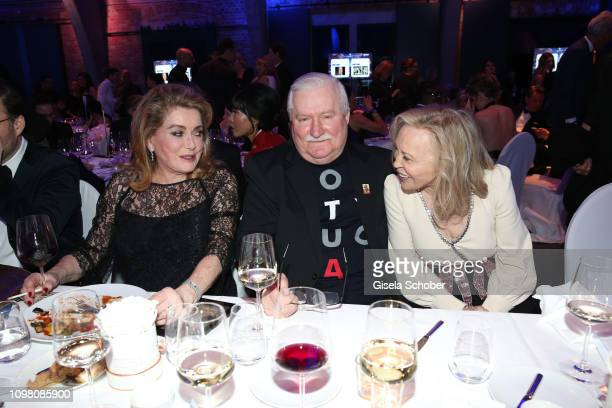 Catherine Deneuve, Lech Walesa, former state president of Poland and Faye Dunaway during the Cinema for Peace Gala at the Westhafen Event &...