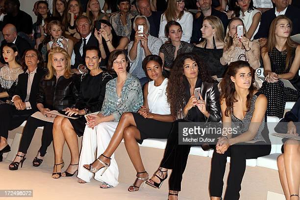 Catherine Deneuve Roberta Armani Milla Jovovich Naomie Harris Afef Jnifen and Alyson Le Borges attend the Giorgio Armani Prive show as part of Paris...