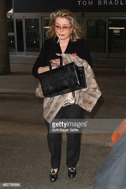 Catherine Deneuve seen at LAX on February 03 2015 in Los Angeles California