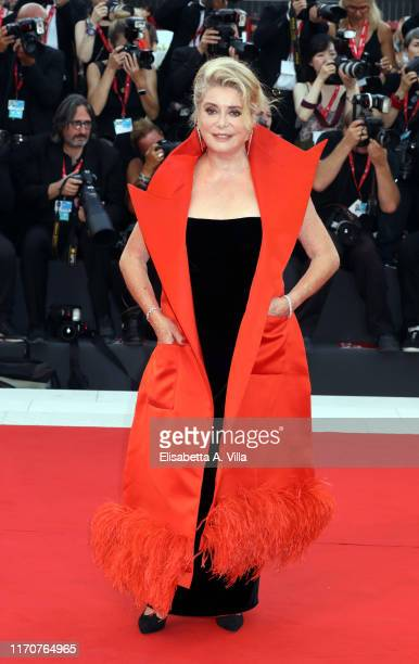 Catherine Deneuve walks the red carpet ahead of the La Vérité screening during the 76th Venice Film Festival at Sala Grande on August 28 2019 in...