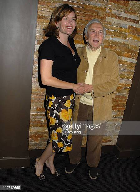 Catherine Dent and Kirk Douglas during PEN USA Benefit Brunch and Reading - Inside at Aphrodisiac in Los Angeles, CA, United States.